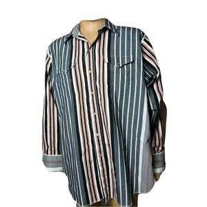 Panhandle Slim Vintage Pearl Snap Button Up Shirt Long Sleeve Striped Made in US